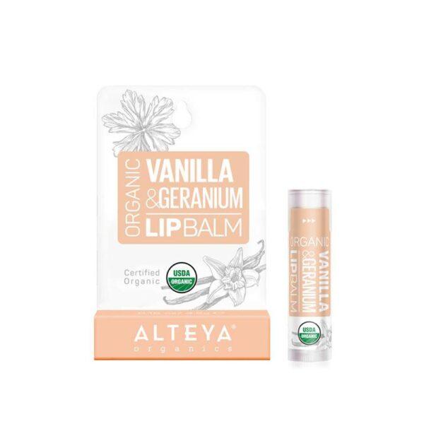 alteya organic lip care vanilla and geranium lip balm